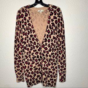 Camellia Pink Leopard Print Cardigan Sweater